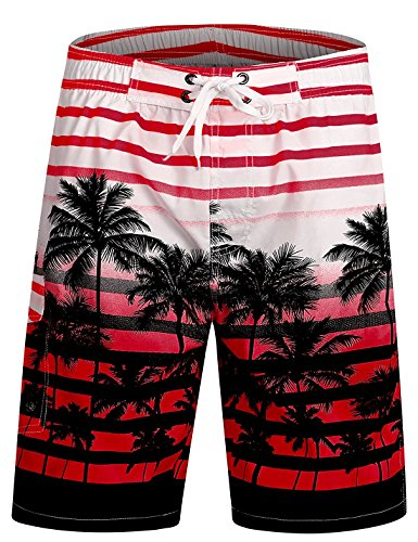 Trunks Hawaiian Swim Lined (ICEbear Mens Swim Trunks Quick Dry Coconut Tree Beach Board Shorts Cool Sportwear Red L)