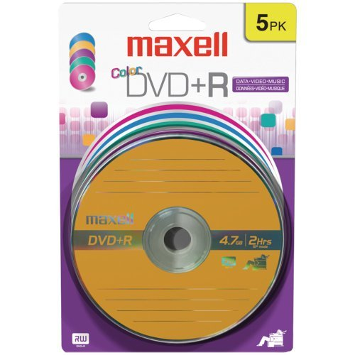 MAXELL 639031 4.7GB DVD+Rs (5 pk; Color Carded) by Maxell (Image #1)