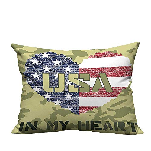Pillow Case Cushion Cover Shaped American Flag Military and Style Illustration Art Sage Green and Khaki Resists Dust Mites19.5x60 inch(Double-Sided Printing)
