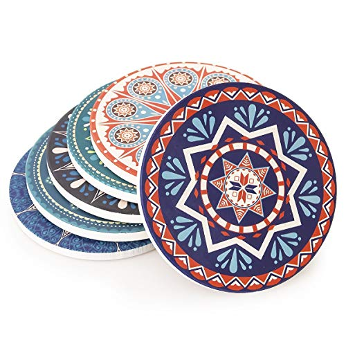 Debut21 Coasters for Drinks 6 Pack - Large Size Absorbent Stone Ceramic Coasters - Protect Furniture from Dirty and Scratched - Suitable for Kinds of Mugs and Cups