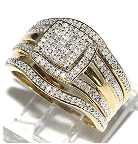 Amazoncom Trio Wedding Rings Set Bridal Set 3 Piece And Mens Wide