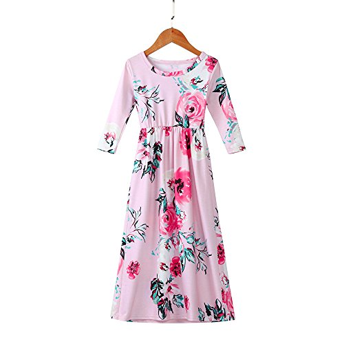 Girls Flower Print Dress 3/4 Sleeve Pleated Casual Swing Long Maxi Dress with Pockets Summer Spring Dresses 2-5Y (Pink, 3T (2-3 Years)) by Cealu (Image #3)