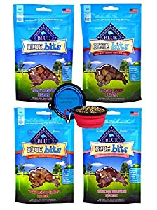 Blue Buffalo Treats Blue Bits Dog Treats - 4 Flavors (Savory Salmon, Tasty Chicken, Tender Beef, and Tempting Turkey) - 4 ounces each (4 Total Pouches) W/ Bonus Hot Spot Pet Travel Bowl