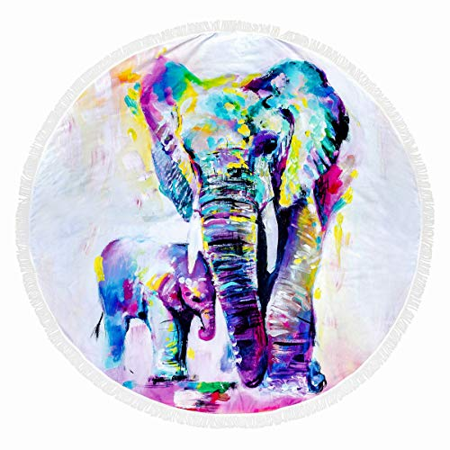 FLY SPRAY Round Beach Towel Oversized Thick Blanket Tassels 59'' Creative Animal Theme Pattern Ultra Water Absorbent Muti-Purpose Soft Microfiber Camping Picnic Vacation Mat Colorful Elephant (Elephant Beach)