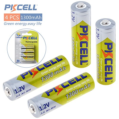 Pkcell AA NI-MH Rechargeable Batteries NIMH for Solar Path Garden Lights,Remotes,4 Packs