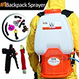 Petra Battery Powered Backpack Sprayer- 2 Wands Included, Quick Connect Handles, Commercial Quality Heavy Duty Sprayer with 20+ Foot Spray, 7 Nozzles Included - 6.5 Gallon