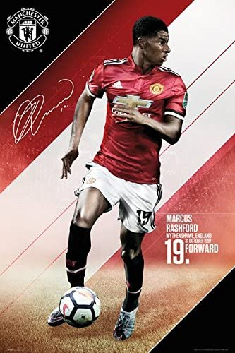 Amazon Com Manchester United Sports Soccer Poster Print Marcus Rashford 2017 2018 Size 24 Inches X 36 Inches Posters Prints