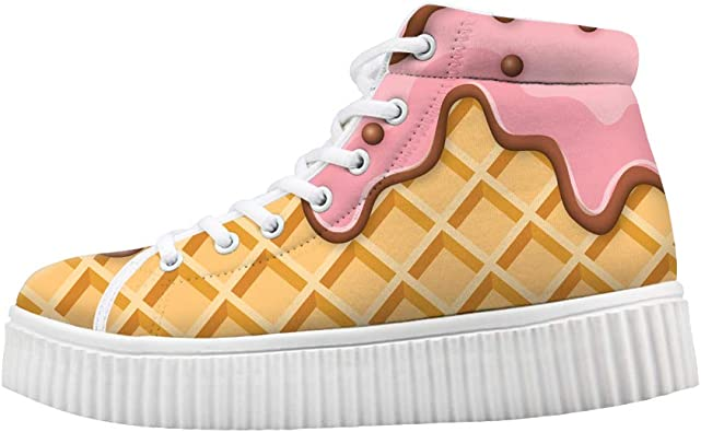 Boys Girls Casual Lace-up Sneakers Running Shoes Melting Strawberry Ice Cream Waffle Plaid Pattern