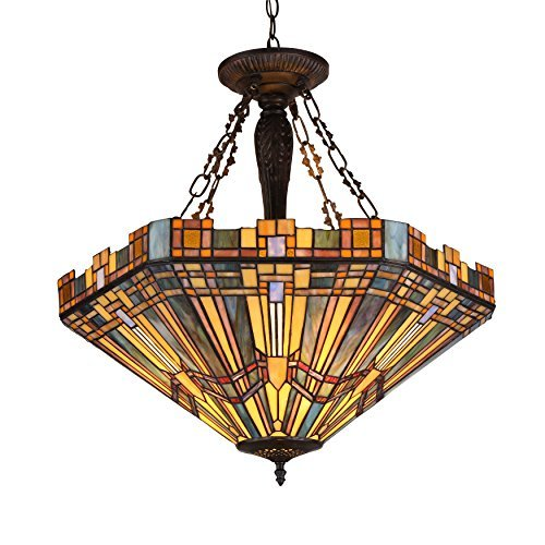 (Chloe Lighting CH36432MS24-UH3 Tiffany Saxon, Tiffany-Style 3 Light Mission Inverted Ceiling Pendant Fixture 24