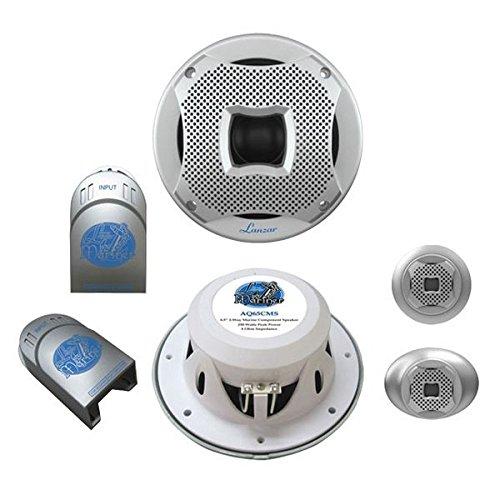 Marine Component Speaker System (Lanzar AQ65CMS 500 Watt 6.5-Inch 2-Way Marine Component System - Silver)