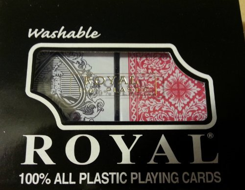 Royal Playing Cards 100% All Plastic Card, 1 Set Double-Deck Brand (2 Decks) with Case