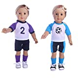 Aimee American Girl AG Sport Doll Clothes, Football/Basketball Team Complete Outfit for 18 Inch Dolls Madame Alexander Dolls and More, Pack of 2