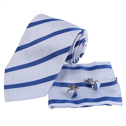 Designer Inspired Blue White Stripes 100% Silk Tie Hanky Mens Necktie Cufflinks Set with Gift Box Set PH1017 One Size Blue,White