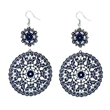 D EXCEED Women's Dark Blue Butterfly Lace Filigree Statement Earrings for Her