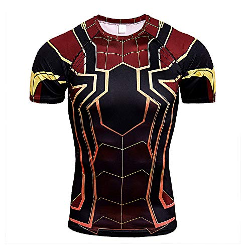 CoolMore Super Hero Compression T Shirts Short Sleeve Tops Tee for Men for Sports Gym Runing Base Layer (Spiderman Red 2, XL) ()