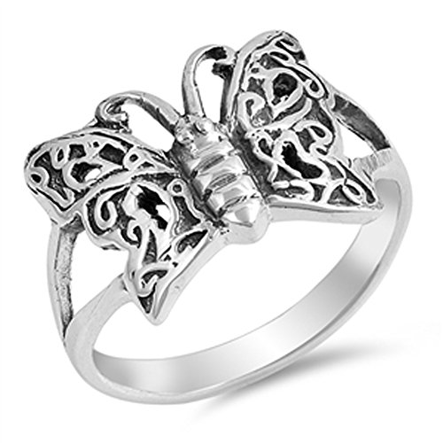 Oxidized Butterfly Celtic Knot Wing Ring New 925 Sterling Silver Band Size 5