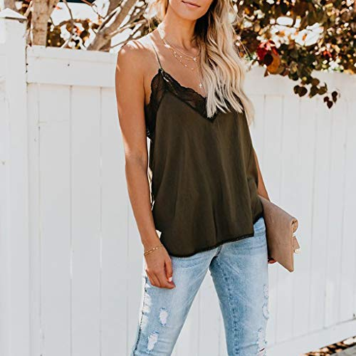 WUAI Tank Tops for Women, Summer Lace Sleeveless V Neck Halter Spaghetti Cami Tops Blouse(Army Green,Small) by WUAI (Image #1)