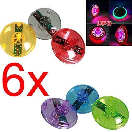 6 X FLASH LED LIGHT LASER COLOR GYRO PEG SPINNER SPINNING TOP KID CHILDRENS TOY
