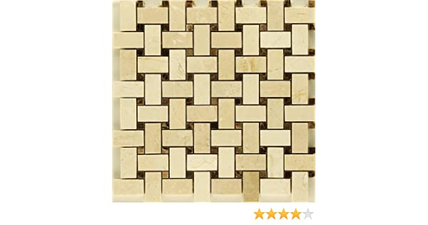 Crema Marfil with Emperador Dark Marble Tweed Mosaic Backsplash Marble Tile - Glass Tiles - Amazon.com