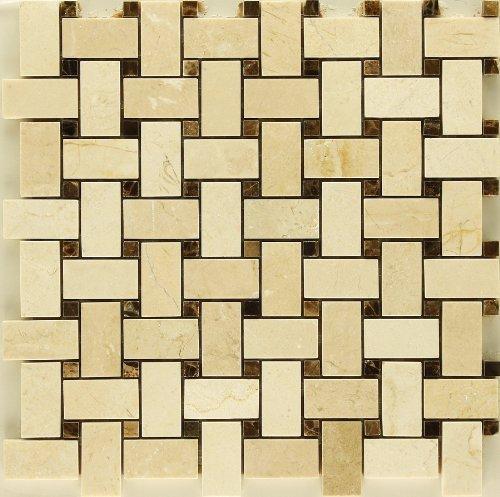 Crema Marfil with Emperador Dark Marble Tweed Mosaic Backsplash Marble Tile by Stone Mosaics - Crema Marfil Stone