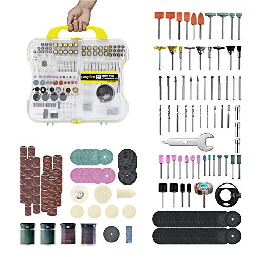 Longmate 300 PCS Rotary Tool Accessories Kit Universal Fitment for Easy Cutting, Carving, Grinding, Sanding and Polishing by Longmate