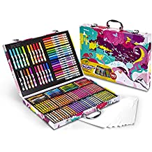 Crayola Inspiration Art Case, Pink Portable Art Studio, 140 Art & Coloring Supplies Art Gift for Kids 4 & Up in Convenient Graphic Travel Case, Great for The Artist On-The-Go, Hours of Creative Fun