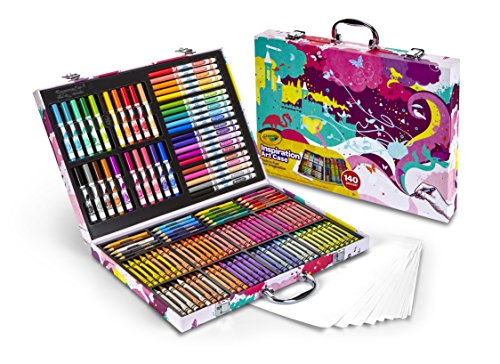 (Crayola Inspiration Art Case, Pink Portable Art Studio, 140 Art & Coloring Supplies Art Gift for Kids 4 & Up in Convenient Graphic Travel Case, Great for The Artist On-The-Go,)