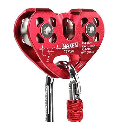 (NAXEN Zip Line Pulley Tandem Speed Dual Trolley with Oval Carabiner )