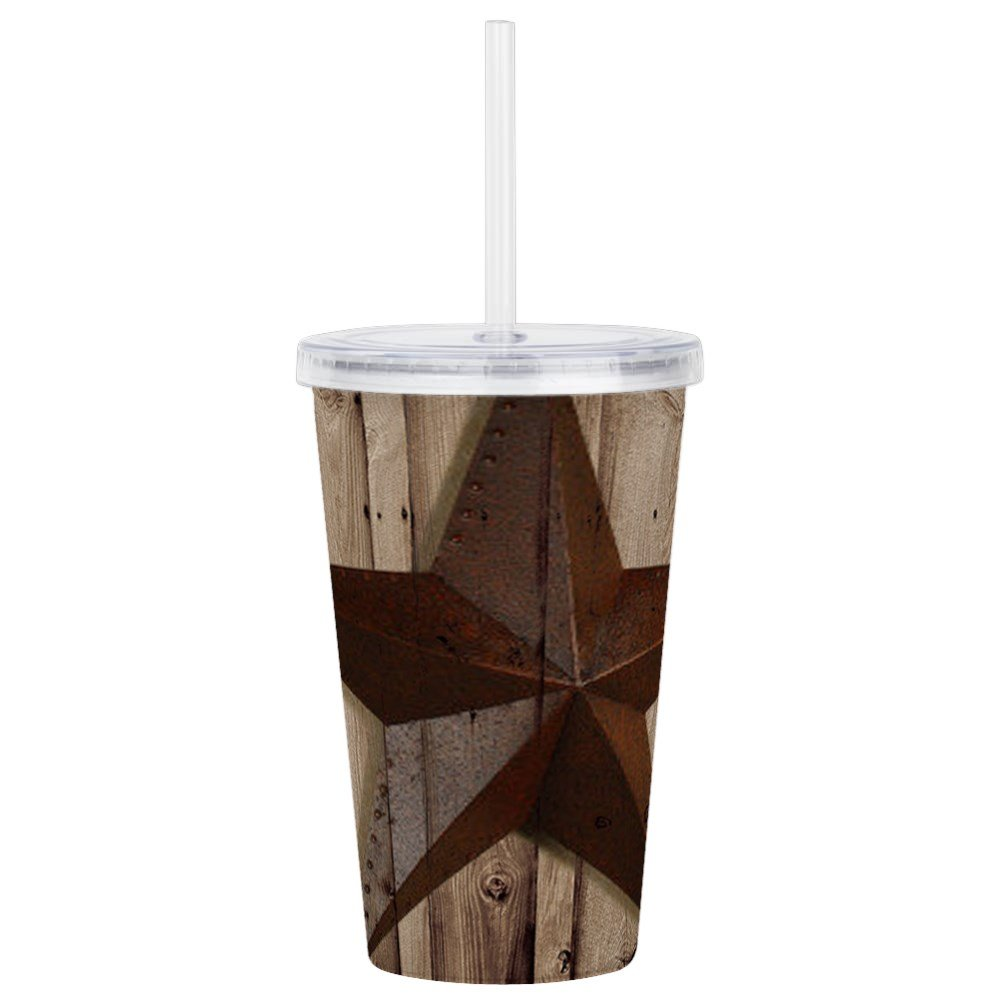CafePress - Barn Wood Texas Star - Insulated Straw Cup, 20oz Acrylic Double-Wall Tumbler