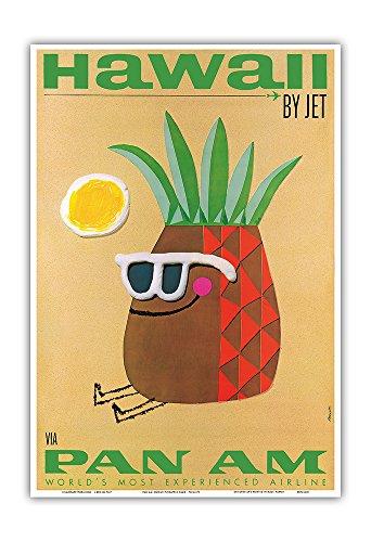 Hawaii by Jet - Pan American Airlines (PAA) - Mr. Pineapple Head - Vintage Hawaiian Travel Poster by Phillips - Hawaiian Master Art Print - 13 x 19in