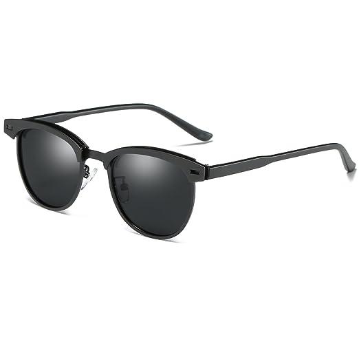 85d1e2d54c SamuRita Polarized Half Frame Clubmaster Sunglasses Horn Rimmed Overlap  Metal Frame Eyewear(Black Lens