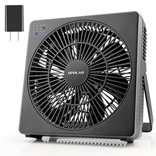 OPOLAR 8 Inch Desk Fan(Included Adapter), USB Operated, 4 Speeds+Natural Wind, Timer, Quiet Operation, Seven Blades, Adjustable Angle, Desktop Personal Cooling Box Fan for Office, Living Room, Bedroom - One High Speed Usb
