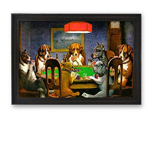 Framed Art A Friend in Need (Dogs Playing Poker) by C M Coolidge Famous Painting Wall Decor Silver Frame