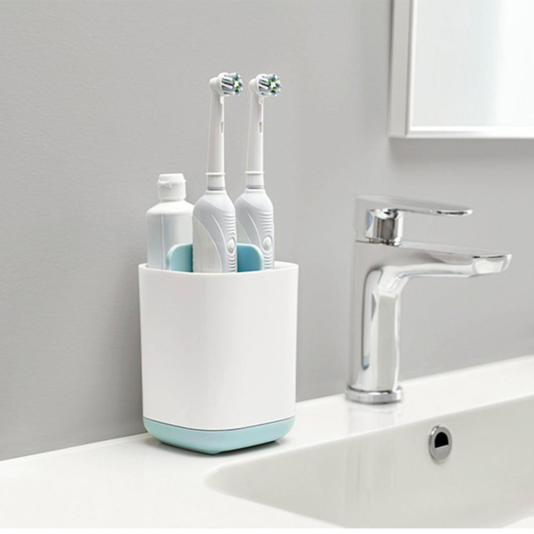 Cocal Toothbrush Holder Bathroom Toothbrush Storage Rack Toothbrush Caddy Wall Mount Toothbrush Combination Holder with Self-Adhesive Bathroom Shower Storage Organizer