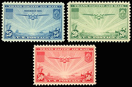 1935 China Clipper Trans-Pacific Issue Set of Three Stamps - Mint Never Hinged Scott C20-22