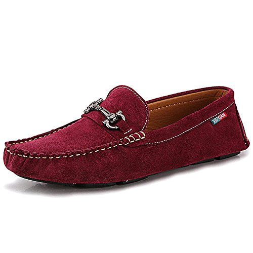 Shenn Men's Slip On Comfort Driving Car Casual Suede Leather Loafers Shoes Red jcTXfZZ