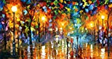 100% Hand Painted Oil Paintings Modern Abstract Oil Painting on Canvas Rainy Night Home Wall Decor (36X65 Inch, Oil Painting 4)