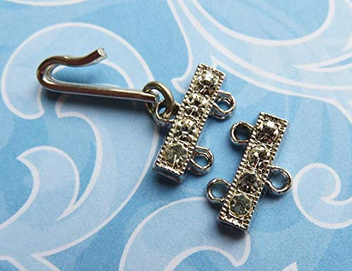 - Perfect and Stunning Beads - Vintage Rhinestone Two Strand Hook and Eye Clasp c.1940 - Item V5399
