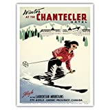 Winter at the Chantecler Hotel - Woman Skier - High in the Laurentian Mountains - Sainte-Adèle, Quebec Province, Canada - Vintage World Travel Poster by Roger Couillard c.1950s - Master Art Print - 9in x 12in