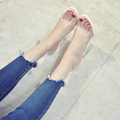 Moda mujeres Mujer tac Sandalias grueso Verano cerrojo transparente tUwxT