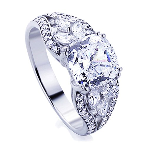 Silver Double Cushion (Sterling Silver 2.5ct Cushion Cut CZ Double Prong Wedding Engagement Ring ( Size 5 to 9 ))