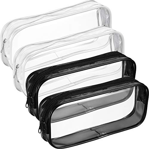 Tatuo 4 Pieces Clear PVC Zipper Pen Pencil Case, Big Capacity Pencil Bag Makeup Pouch (Black and White) ()