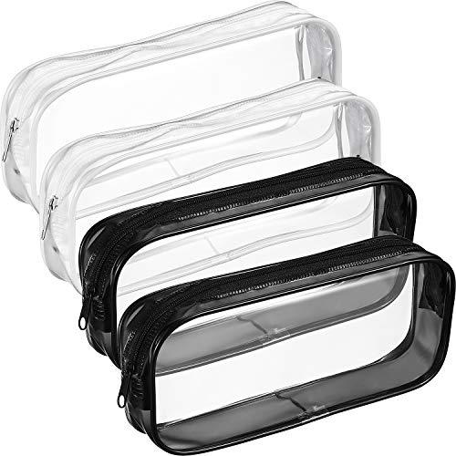 Tatuo 4 Pieces Clear PVC Zipper Pen Pencil Case, Big Capacity Pencil Bag Makeup Pouch (Black and - Pvc Case