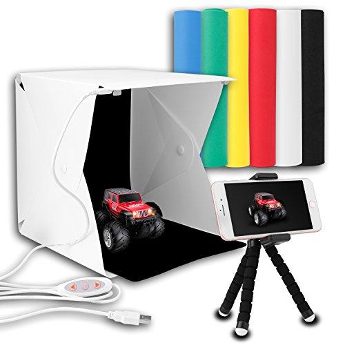 Portable Photo Light Box Kits, Zenic Mini Folding Photography Studio Shooting Tent Kits with Cellphone Holder 6 PCS Backdrops for Photography from zenic
