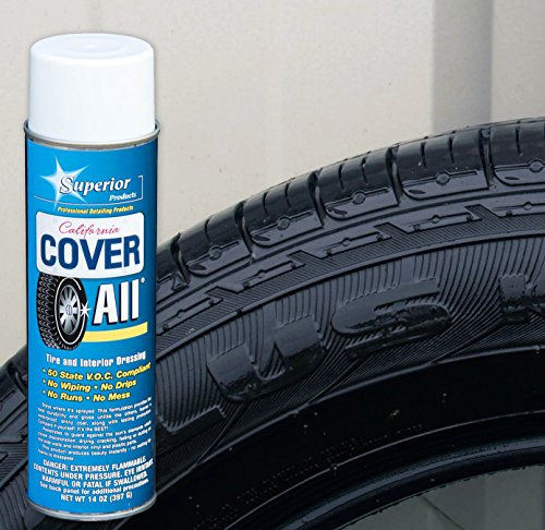 Superior California Cover All Products - Automotive Tire Shine Aerosol Spray Can & Professional Grade -Tire Dressing - High Gloss - Water Repellent & Made in America (14 oz)