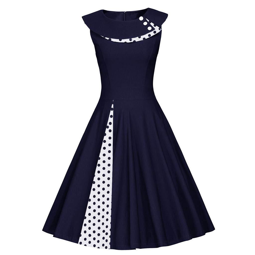 Vintage Kleider Yesmile 1950er Damen Sommerkleider /Ärmellose elegant Kleid Retro Rockabilly Kleid Hepburn Stil Polka Dots Kleid Partykleider Cocktailkleider Festliches Kleider