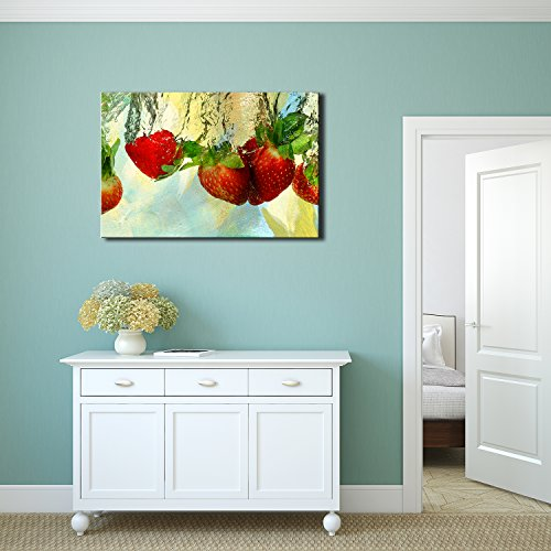 - wall26 - Fruits Canvas Wall Art - Fresh Red Strawberries in Water - Gallery Wrap Modern Home Decor | Ready to Hang - 16x24 inches