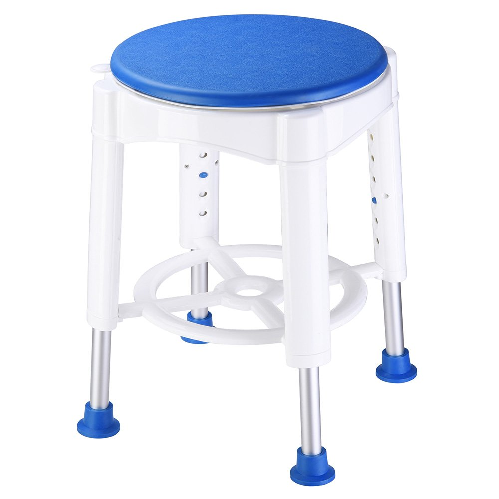AW 14'' Adjustable Medical Bath Stool Bathroom Safety Shower Stool Swivel Chair with Rotating Seat Aluminum