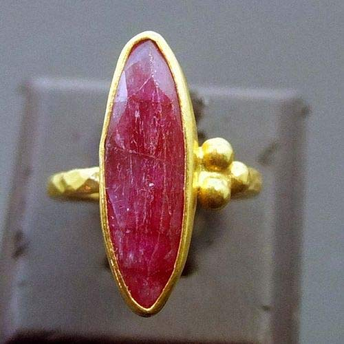 Ancient Design Handmade Handmade Band Nice Large Ruby Ring 22K Gold over 925 Sterling Silver ()