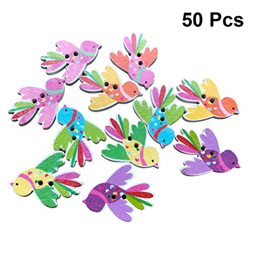 Healifty 50Pcs Wooden Bird Buttons Decorative Wood Button for DIY Crafting Scrapbooking Sewing Clothing 35x27mm